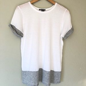 Vince Color Bloch Tee T-Shirt White Grey S